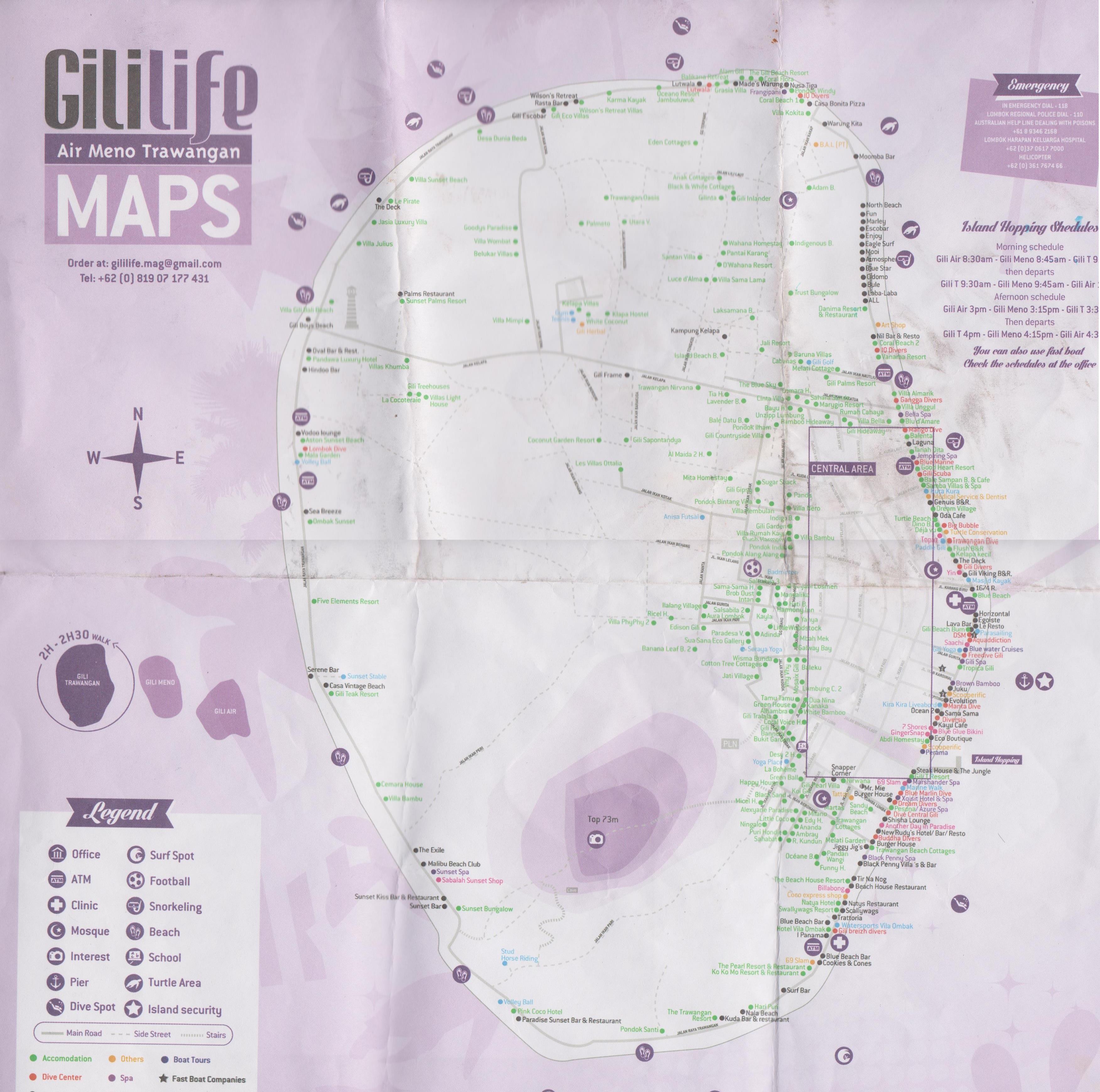 Mapa Gili Trawangan